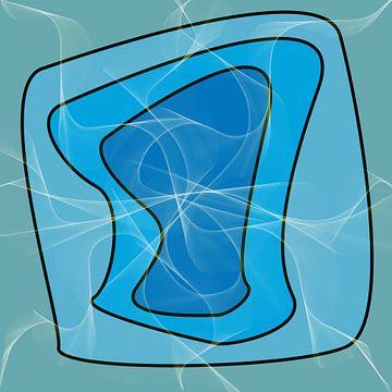 Abstrakte organische Formen in Blautönen von Maurice Dawson