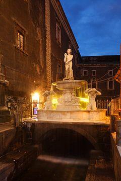 Amenano Brunnen beim Piazza del Duomo bei Abendämmerung, Catania, Sizilien, Italien, Europa