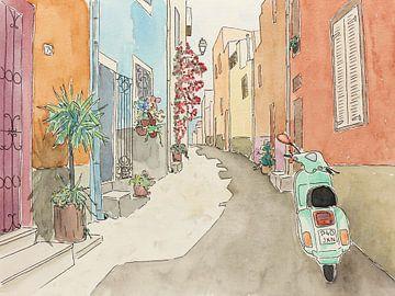 Unterwegs mit dem grünen Roller von Natalie Bruns