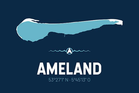 Ameland | Design kaart | Silhouet | Minimalistische kaart