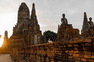 Mönche Bangkoks Ayutthaya Thailand alte Ruinen van Felix Brönnimann