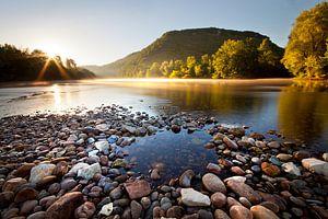 Schöner Sonnenaufgang in der Dordogne von
