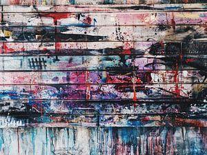 Abstract kunstwerk op houten panelen.
