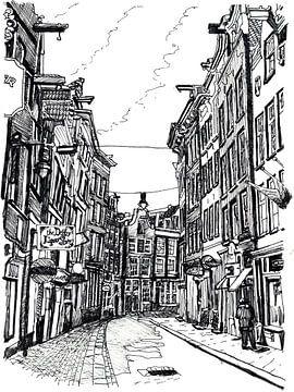 Zeichnung Zeedijk Amsterdam Niederlande von Hendrik-Jan Kornelis