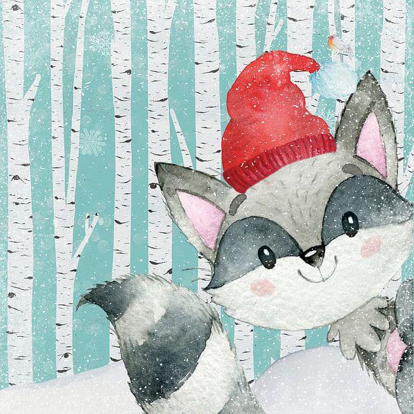 Waschbär im Winterwald - Illustration von Uta Naumann