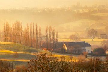 Heuvelland in de ochtendmist van Stan Bessems