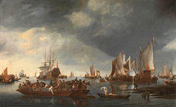Hafen mit Segelbooten und Fähre, Hendrick Jacobsz. Dubbels