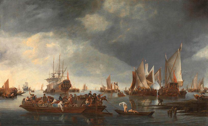 Haven met zeilboten en Ferry Boat, Hendrick Jacobsz. Dubbels van Meesterlijcke Meesters