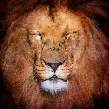 Porträt eines schönen Löwenkopfes (Kunst) von Art by Jeronimo