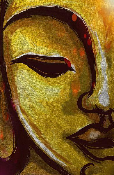 Buddha Metallisches Gold von Jolanda Janzen-Dekker