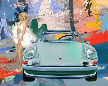 Porsche mit abstraktem Hintergrund von Nicole Roozendaal