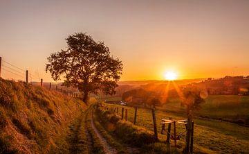 Zonsopkomst boven Gulpen in Zuid-Limburg van