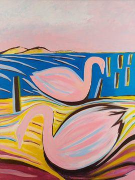 les cygnes nagent sur Ivonne Sommer