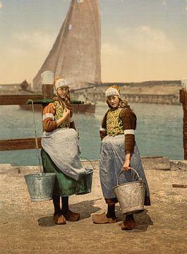 Inheemse meisjes, Markeneiland, Nederland van Vintage Afbeeldingen