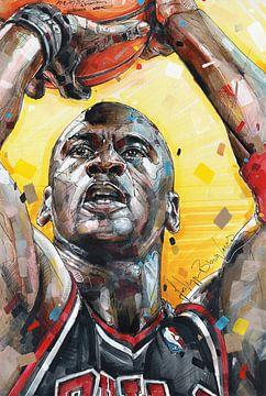 Michael Jordan  Chicago Bulls Gemälde von Jos Hoppenbrouwers