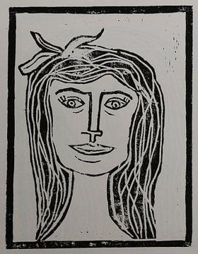 A Sweet Face - Linocut a la Picasso von Christiane Schulze