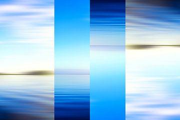 Surrealistische blauwe abstracte zeegezicht van Jan Brons