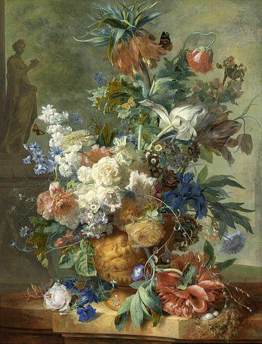 Stilleven met bloemen in gouden vaas, Jan van Huysem, 1723 van