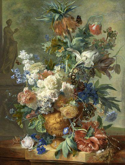 Stilleven met bloemen in gouden vaas, Jan van Huysem, 1723 van Roger VDB