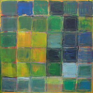 36 Green, Yellow, Blue  squares van Liliane Dumont