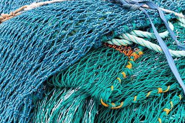 Blauw en groen visnet van