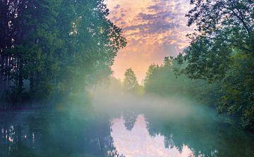 Nebliger Sonnenaufgang von Wim van D