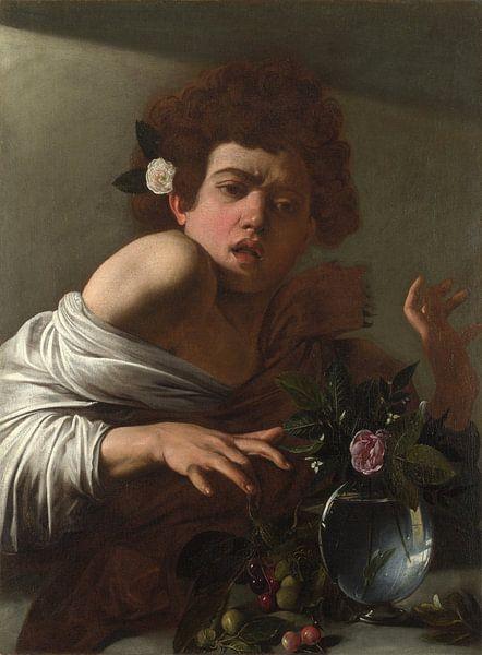 Jüngling, von einer Eidechse gebissen, Michelangelo Merisi da Caravaggio von Meesterlijcke Meesters
