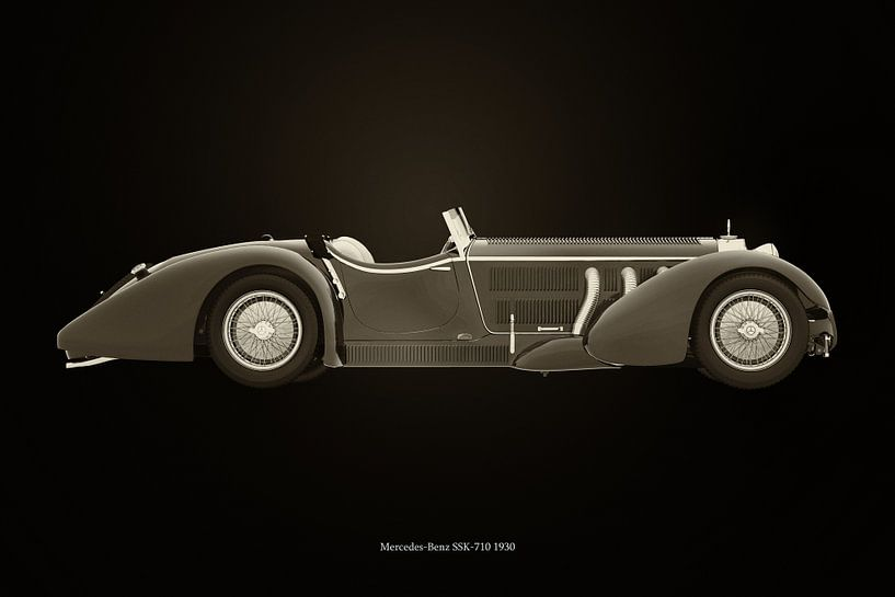 Mercedes-Benz SSK-710 zwart en wit van Jan Keteleer