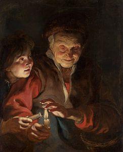 Vieille femme et garçon avec des bougies sur Natasja Tollenaar