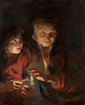 Schilderij, Oude vrouw en jongen met kaarsen