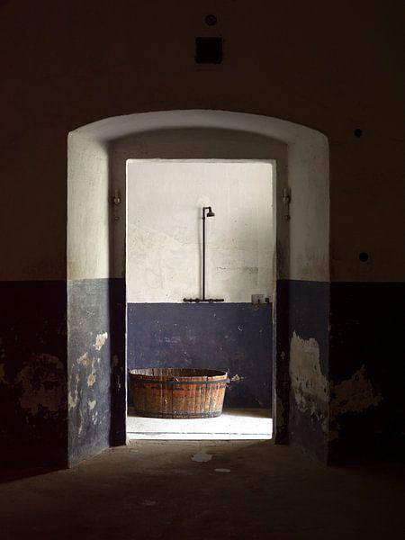 Wastobbe met douche (stilleven) van Maurits van Hout