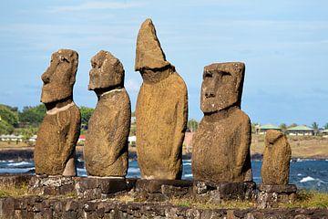 Rij beelden op Paaseiland van Ivonne Wierink