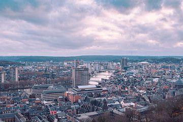 Panorama met uitzicht over de skyline van de stad Luik en de rivier de Maas van Daan Duvillier