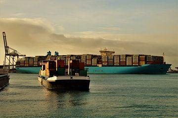 Containerschip en binnenvaartschip, Maasvlakte 2, Rotterdam van