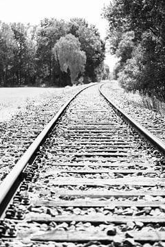 Leere Eisenbahnschienen in der Landschaft während eines heißen Sommertages in Gelderland, Niederland von Sjoerd van der Wal