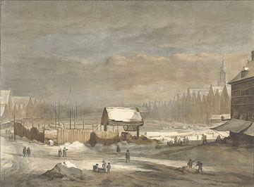 Het Damrak in de winter, Hendrik Pothoven