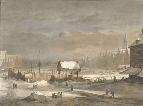 Het Damrak in de winter, Hendrik Pothoven van Meesterlijcke Meesters