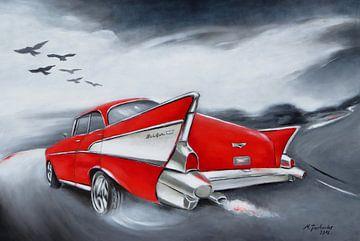 Chevrolet Oldtimer - Retro Gemälde von Marita Zacharias
