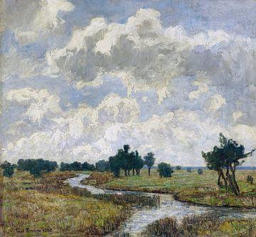 Zon en wolken boven drassige weiden met een beek, PAUL BAUM, 1886 van Atelier Liesjes