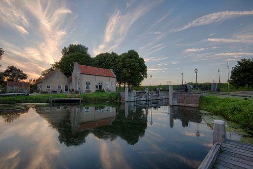 Old lock at sunset