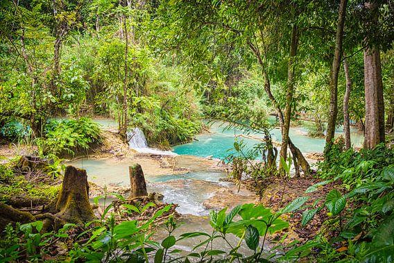 Doorkijkje bij de Kuang Si Watervallen, Laos
