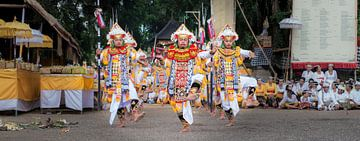 baris dance in Temple Pura Dalem Kauh near Tangallalang