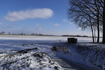 Sneeuw in Achthuizen van Fotografiemetangie