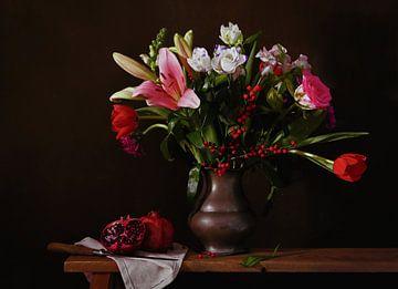 Stilleven met granaatappels van Odette Kleeblatt