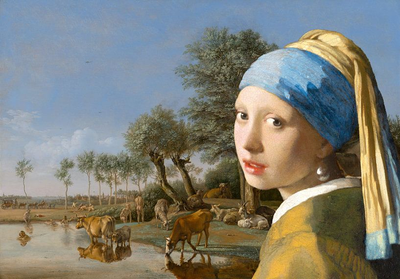 Girl with a Pearl Earring & The Reflecting Cow von Eigenwijze Fotografie