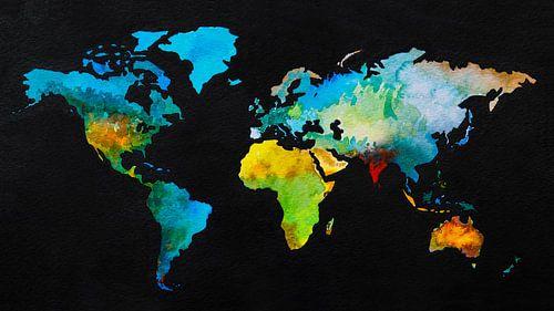 Weltkarte in schwarzen Gewässern von - Wereldkaarten.Shop -