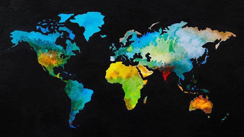 Wereldkaart in aquarel en Zwarte inkt van Wereldkaarten.Shop