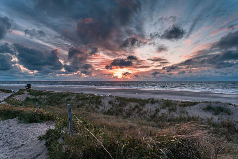 Zonsondergang op Spiekeroog van Steffen Peters