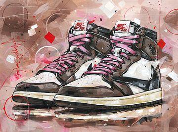Nike Air Jordan 1 Retro High Travis Scott malerei.