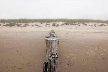 Dunes et ciel gris au-dessus de l'île néerlandaise de Wadden, Ameland. sur Ans van Heck